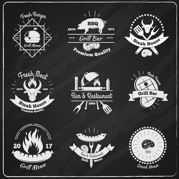 Emblemas vintage restaurante grill vector gratuito