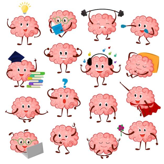 Emoción cerebral historieta inteligente personaje expresión emoticon e inteligencia emoji estudiando ilustración conjunto de lluvia de ideas de empresario o superman kawaii aislado sobre fondo blanco Vector Premium