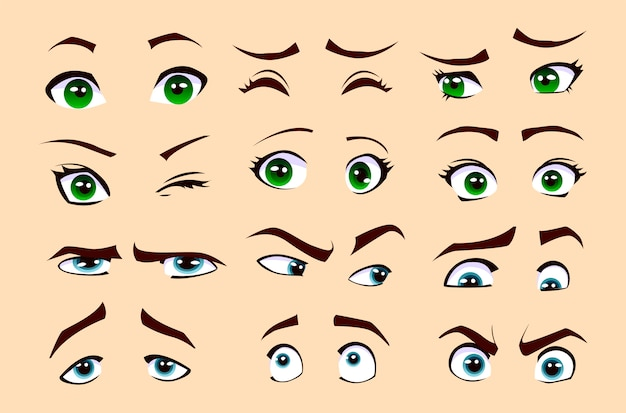 Las emociones del hombre y la mujer. conjunto de ojos Vector Premium