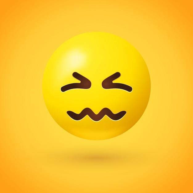 Emoji confundido con ojos arrugados y boca arrugada Vector Premium