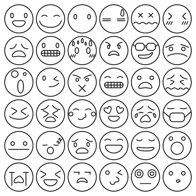 Emoji emoticons set cara expresión sentimientos colección vector gratuito