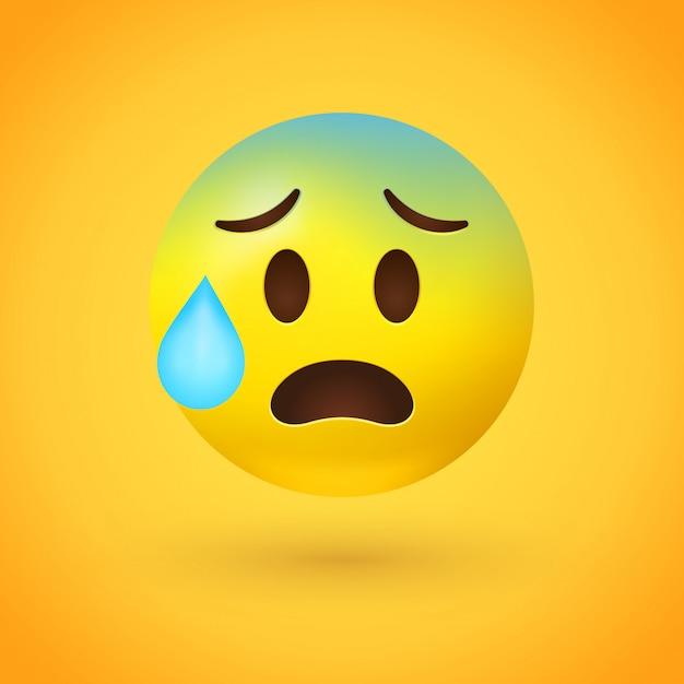 Emoji estresado con gota de sudor Vector Premium