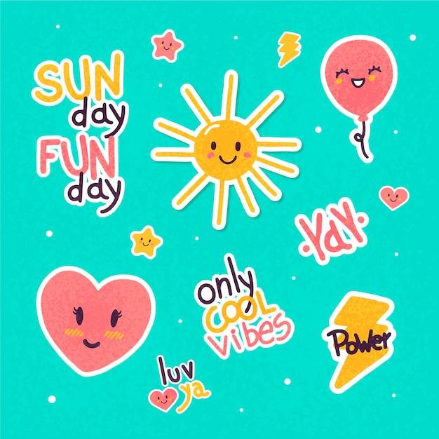 Emoji y pegatinas de palabras vector gratuito