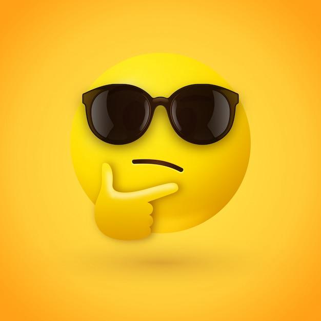 5b00c056fc Emoji de pensamiento con gafas de sol   Descargar Vectores Premium