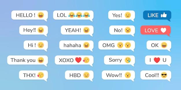 Emojis en mensajes vector gratuito