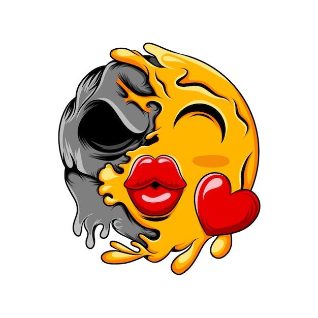 Emoticon de amor con labios de beso grande que cambian a calavera negra oscura Vector Premium