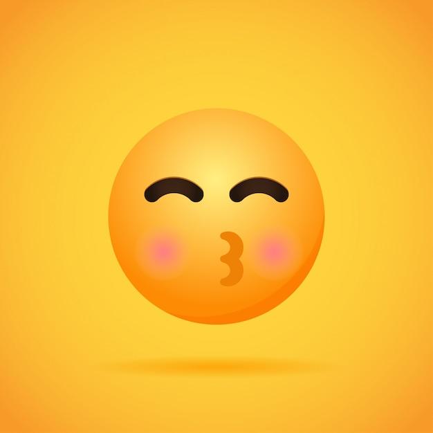 Emoticon de dibujos animados emojis sonríen para las redes sociales en naranja. ilustración Vector Premium