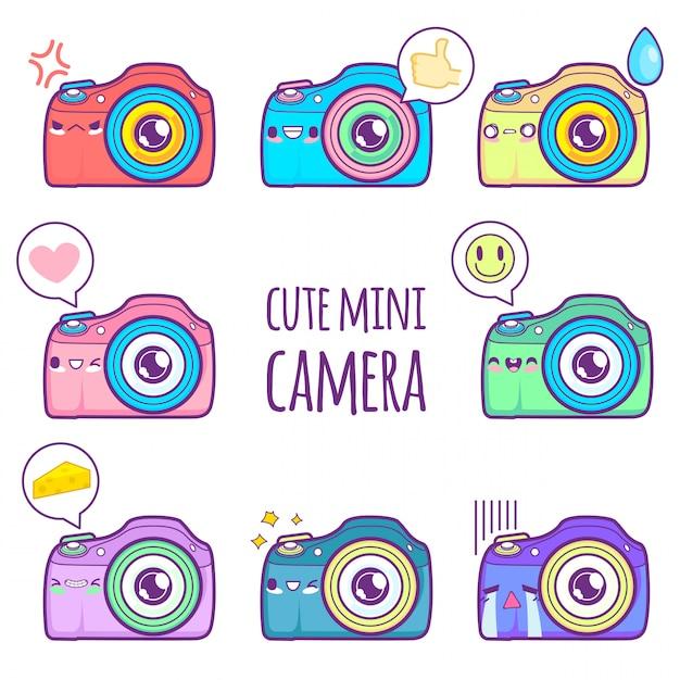 Emoticon lindo pegatina de cámara Vector Premium