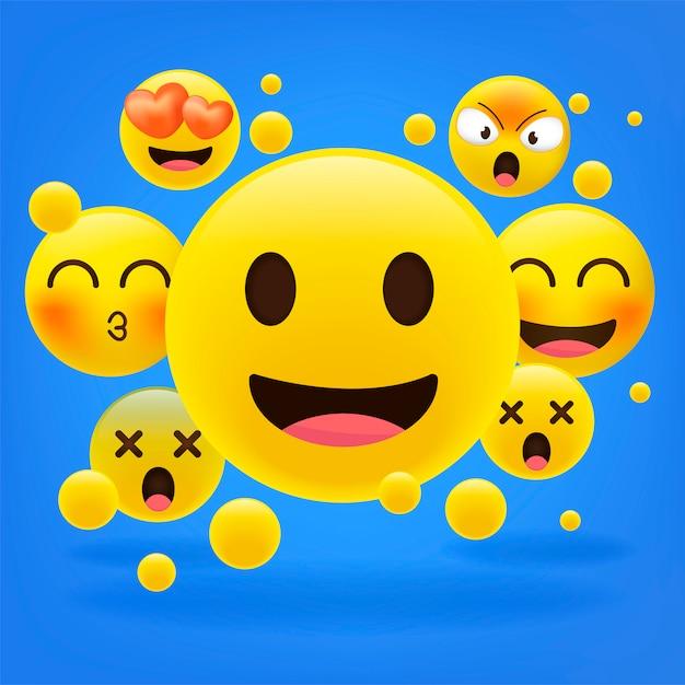 Emoticones amarillos. colección de dibujos animados emoji. Vector Premium