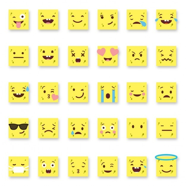 Emoticonos amarillos cuadrados descargar vectores gratis for Emoticones para instagram