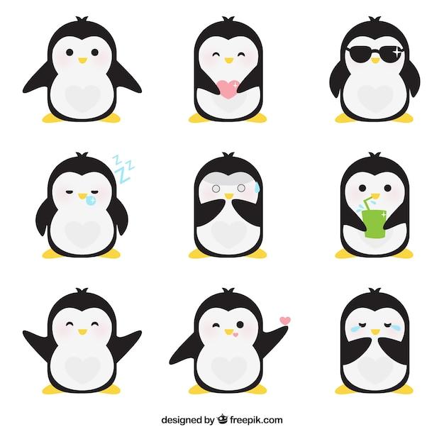 Emoticonos planos de pingüino fantástico vector gratuito