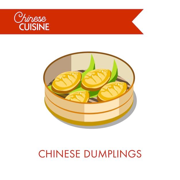 Empanadillas chinas en placa aislada en blanco Vector Premium