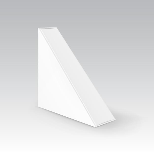 Empaquetado de la caja para llevar del triángulo en blanco blanco de la cartulina para el bocadillo Vector Premium