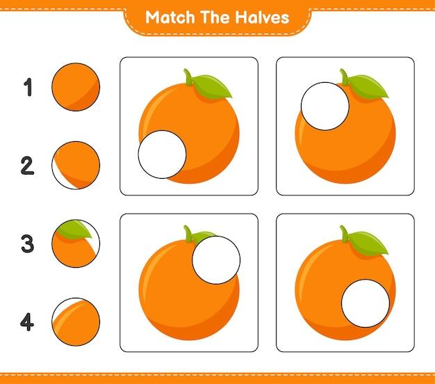 Empareja las mitades. coincidir con las mitades de naranja. juego educativo para niños, hoja de trabajo imprimible Vector Premium