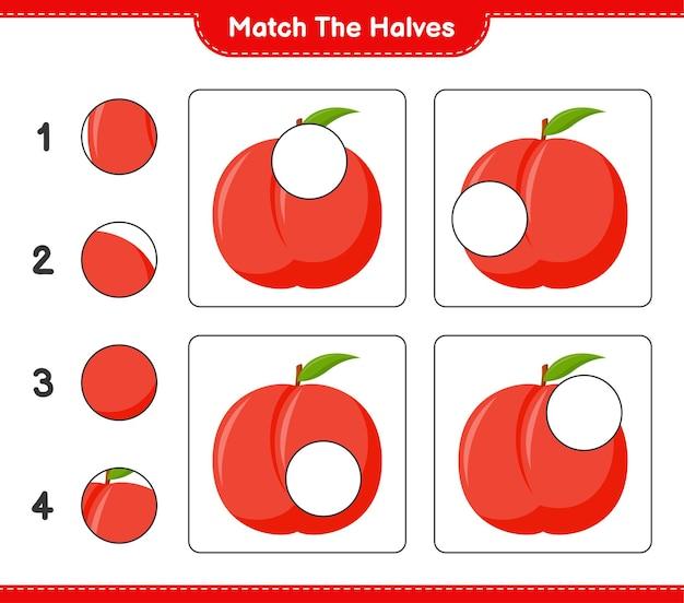 Empareja las mitades. coincidir con las mitades de nectarina. juego educativo para niños, hoja de trabajo imprimible Vector Premium