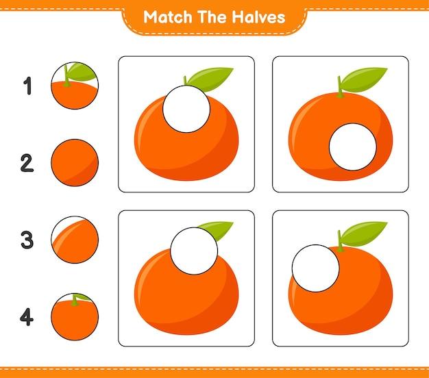 Empareja las mitades. coincidir con las mitades de tangerin. juego educativo para niños, hoja de trabajo imprimible Vector Premium