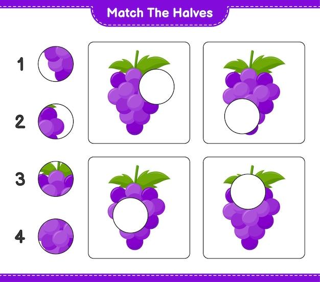 Empareja las mitades. coincidir con mitades de uva. juego educativo para niños, hoja de trabajo imprimible Vector Premium