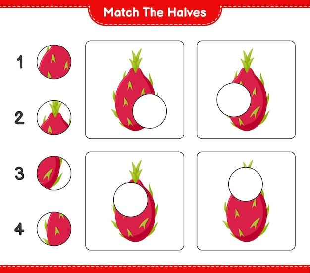 Empareja las mitades. combina mitades de fruta del dragón. juego educativo para niños, hoja de trabajo imprimible Vector Premium