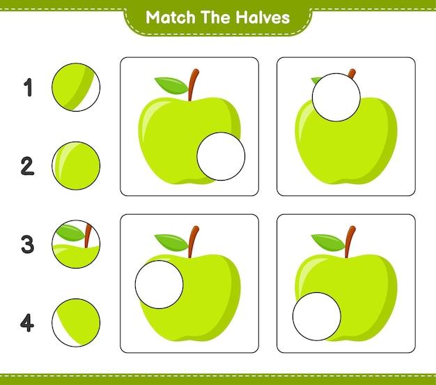 Empareja las mitades. combina mitades de manzana. juego educativo para niños, hoja de trabajo imprimible Vector Premium