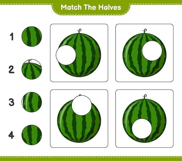 Empareja las mitades. combina mitades de sandía. juego educativo para niños, hoja de trabajo imprimible Vector Premium