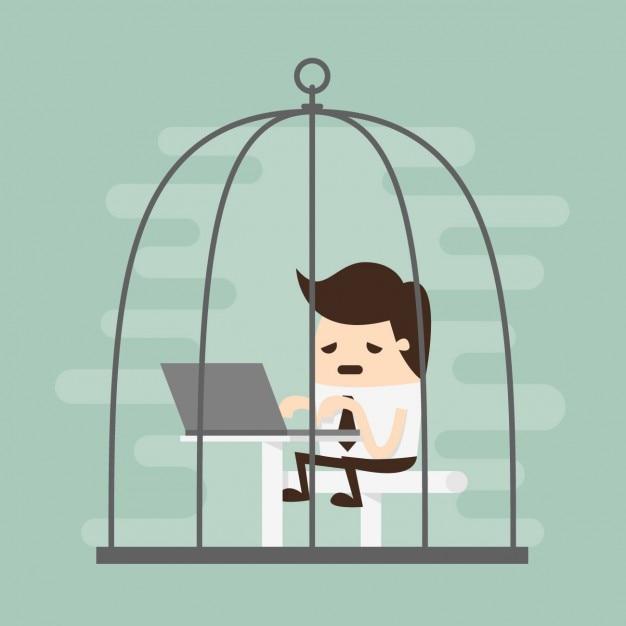Empleado cansado trabajando en una jaula vector gratuito