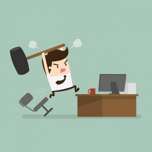 Empleado enfadado en la oficina vector gratuito
