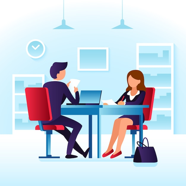 Empleado, mujer contendiente e impresionado empresario profesional entrevistador hombre Vector Premium