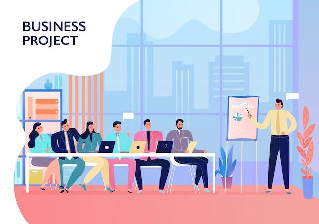 Empleados de oficina presentando y discutiendo proyectos de negocios en la reunión vector gratuito