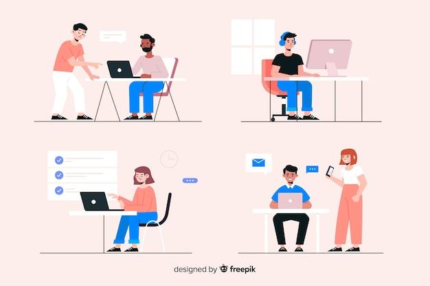Empleados de oficina sentados en escritorios vector gratuito