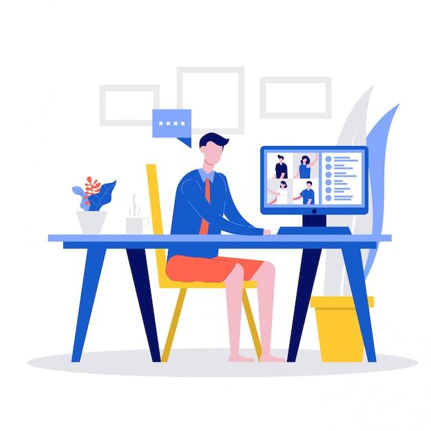 Empleados de oficina varones en camisa formal y pantalones cortos con videollamada en la computadora para reuniones en línea, Vector Premium
