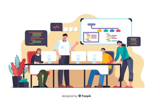 Empleados de programadores de dibujos animados trabajando en equipo vector gratuito
