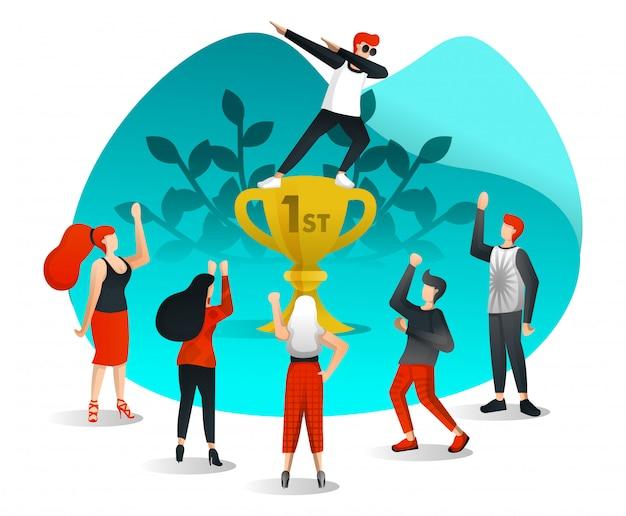 Empleados que celebran la victoria Vector Premium