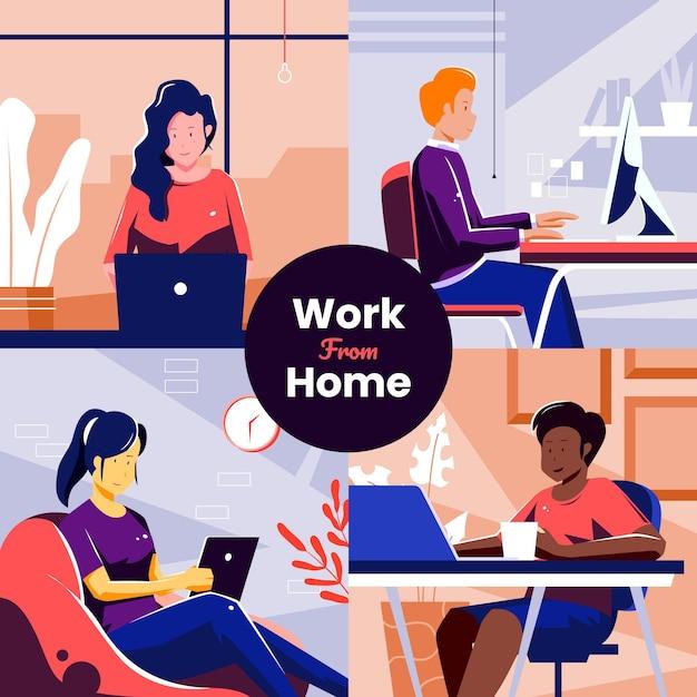 Empleados que trabajan desde casa Vector Premium