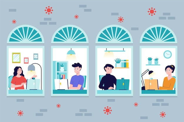 Empleados que trabajan desde casa vector gratuito