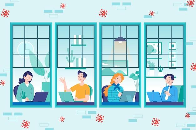Empleados trabajando desde casa concepto vector gratuito