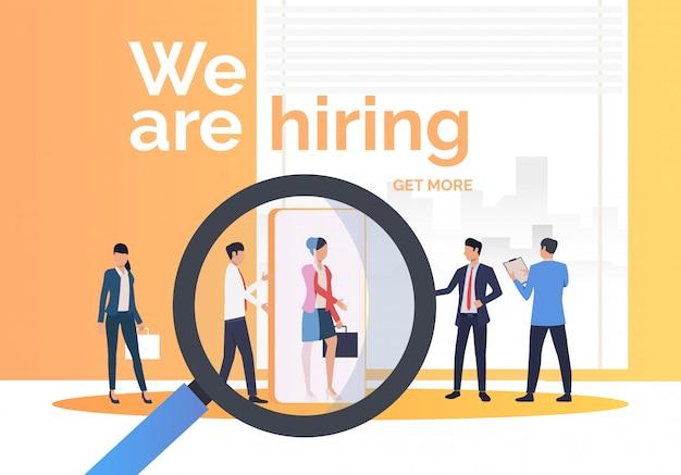 Empresa contratando candidatos de trabajo. vector gratuito