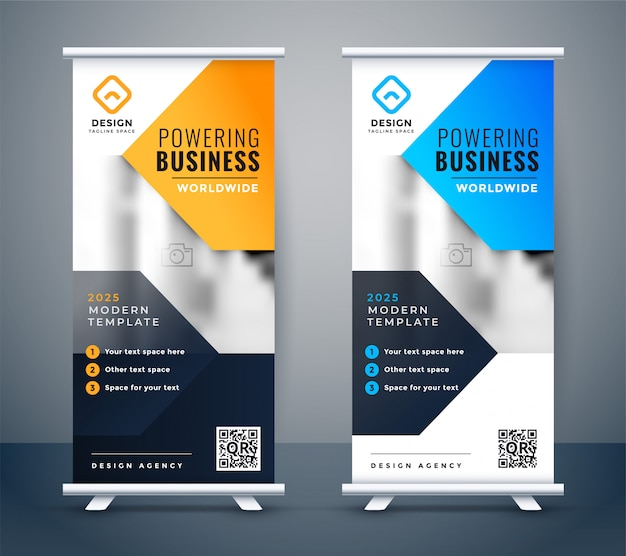 Empresa elegante negocio roll up banner diseño vector gratuito