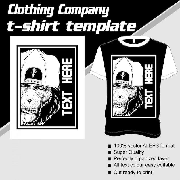 Empresa de ropa, plantilla de camiseta, mono Vector Premium