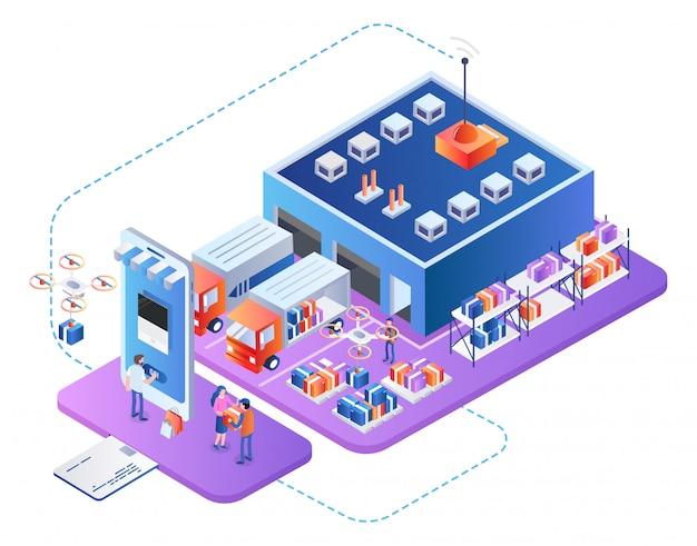 Empresa de servicios logísticos empresariales cadena de suministro Vector Premium