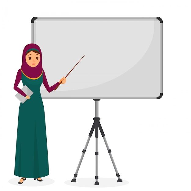 Empresaria árabe en una presentación de pie cerca de rotafolio. carácter empresarial. ilustración vectorial Vector Premium