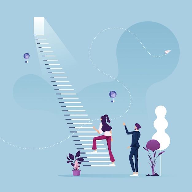 La empresaria comienza a subir la escalera para el concepto de carrera empresarial de éxito Vector Premium