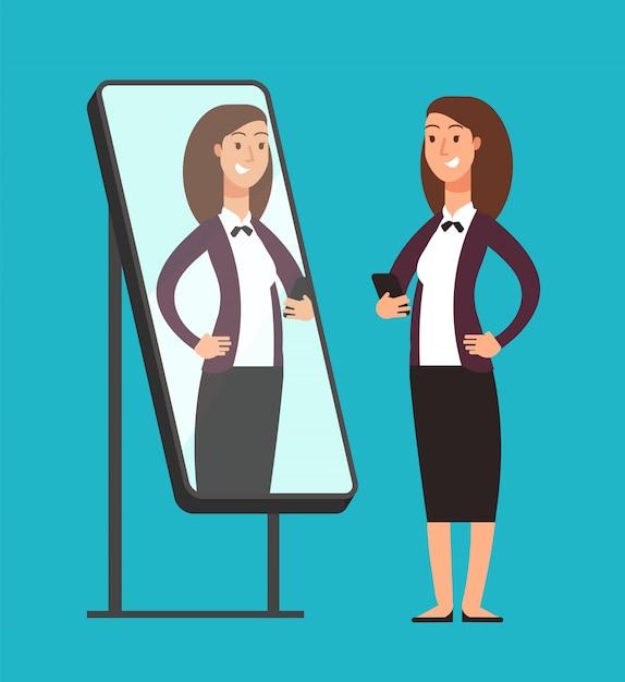 Empresaria confiada narcisista sonriente feliz que mira la reflexión en  espejo. | Vector Premium