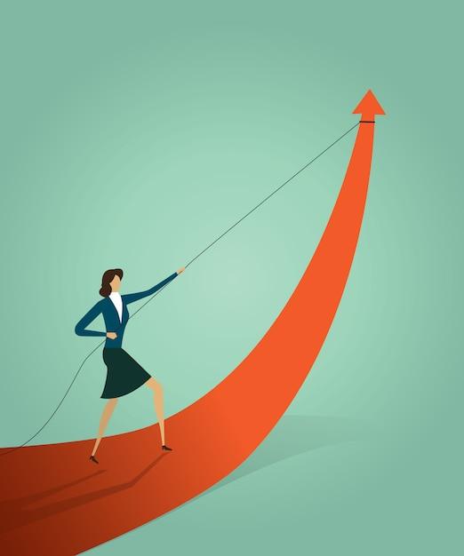 La empresaria que tira del gráfico de la flecha va camino a la meta u objetivo Vector Premium
