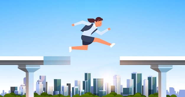 Empresaria saltando sobre brecha Vector Premium