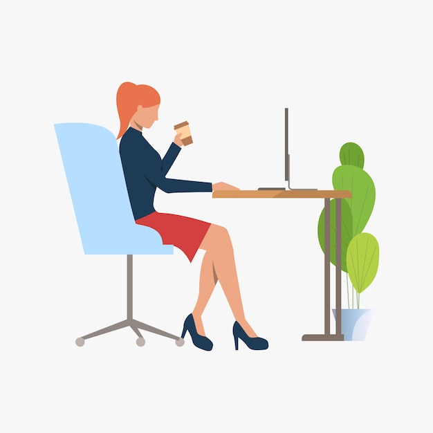 Empresaria tomando café y usando la pc vector gratuito