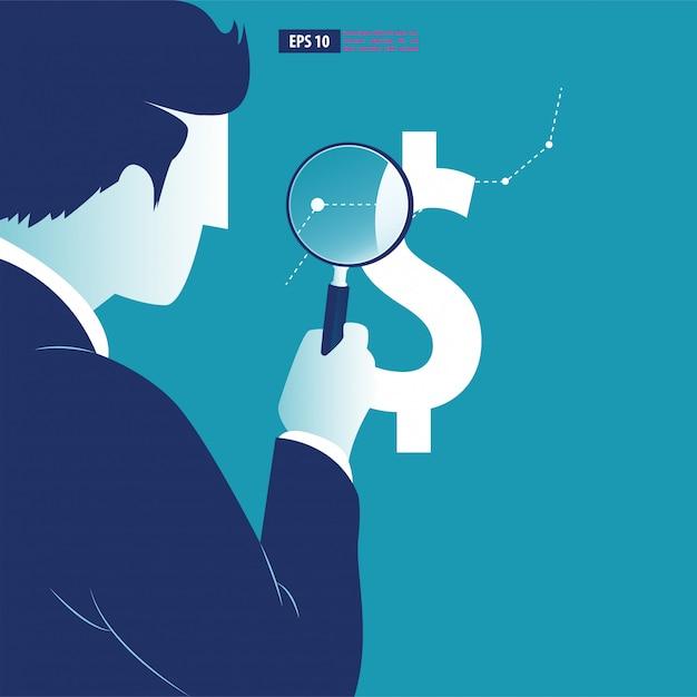 El empresario analiza las tendencias en los cambios de moneda. Vector Premium