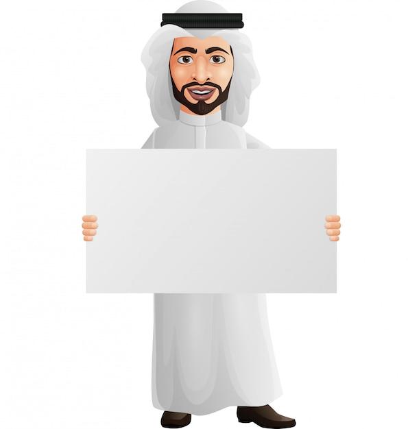 Empresario árabe sosteniendo un cartel en blanco Vector Premium