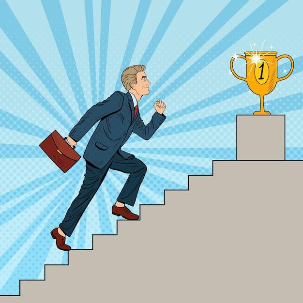 Empresario de arte pop subiendo escaleras a la copa de oro. Vector Premium