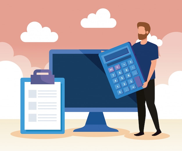 Empresario con calculadora y tecnología informática y documento Vector Premium