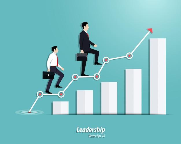 Empresario caminando hacia los pasos o la tabla de éxito Vector Premium